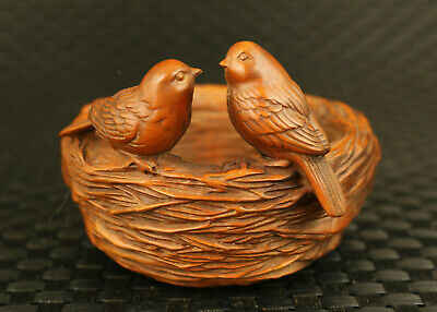 china unique old boxwood Handcarved love bird family statue art table decoration