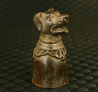 Asian rare old copper Handcarved dog statue collectible wine glass decoration
