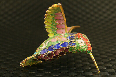 Chinese old cloisonne hand painting colour hummingbird pendant statue decorate