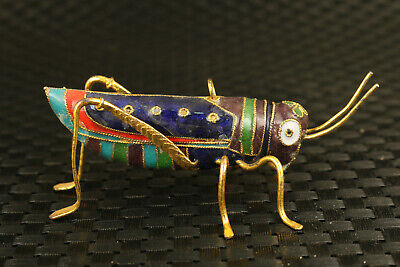 old chinese cloisonne hand painting locust statue decorate Necklace Pendant gift