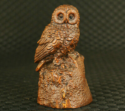 Lovely chinese boxwood hand carved owl statue Netsuke collectable decoration