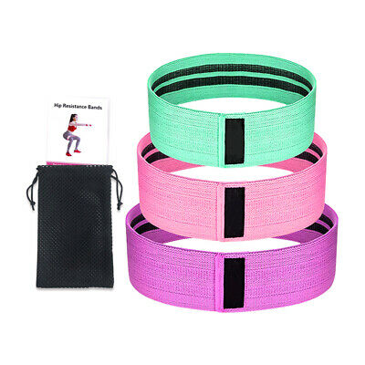 3Pcs Fabric Resistance Bands Butt Exercise Loop Circles Set Legs Glutes Women