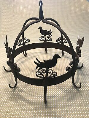 Antique Vintage Wrought Iron Rooster Rustic Pot and Pan Holder Hanging Rack