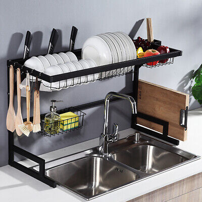 Over Sink Drain Rack Stainless Steel Kitchen Shelf Dish Cutlery Drying Drainer