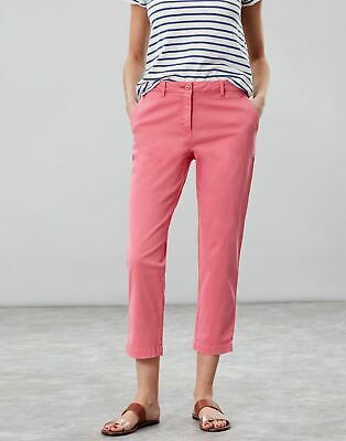 Joules Womens Hesford Crop Chinos in PINK Size 6