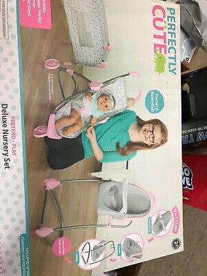 Perfectly Cute Deluxe Nursery Playset Baby Doll Pretend High Chair Stroller Crib