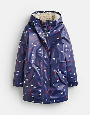 Joules Girls Charlotte Fleece Lined Rubber Coat 3 12 Years in NAVY CONFETTI STAR