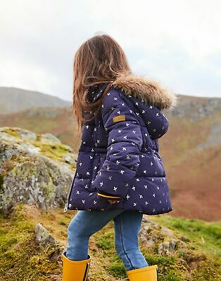 Joules Girls Stella Faux Fur Lined Padded Coat  - NAVY SILVER LEAF