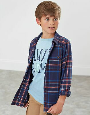 Joules Boys Lachlan Checked Shirt  - NAVY CHECK