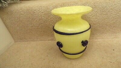 """Bohemian Art Deco Tango Glass Vase in Yellow with Blue Trailing 7.6"""" in height"""