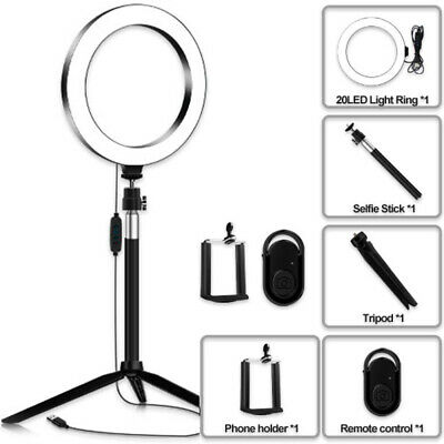 5-in-1 USB LED Ring Light Dimmable YouTube Phone Light Tripod w/ Remote Control