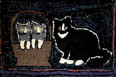 Antique Folk Art Hooked Rug Cat and Kittens Primitive Naive EXC Condition NR