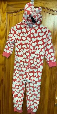 Next All In One Pyjamas Hooded Pink Love Hearts
