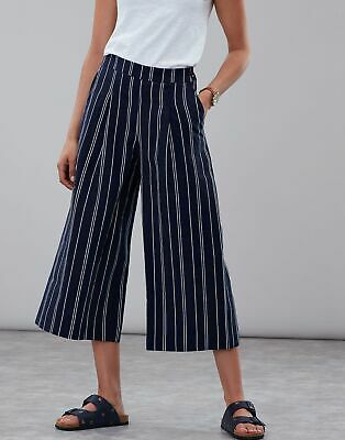 Joules Womens Alexi Print Culottes in NAVY WHITE STRIPE Size 10