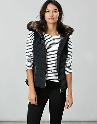 Joules Womens Maybury Chevron Gilet With Hood in TRUE BLACK Size 10