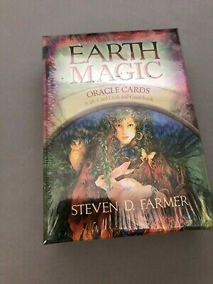 Earth Magic Oracle Cards by Steven D. Farmer 48 Card Deck & Guidebook
