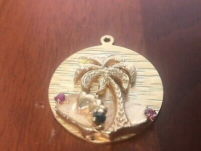 3 D 14KT Solid Yellow Gold Palm Tree W/ Rubies & sapphire Charm Pendant