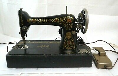 Vintage Singer Model 66 Red Eye Motorized Sewing Machine