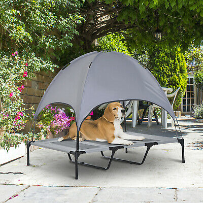 Elevated Pet Bed w/ Canopy Outdoor Covered Raised Dog Cot w/ Carrying Bag
