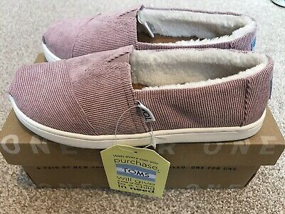 Toms Classic Youth Pink Cord Slip In Shoes With Fur Inside Size 13 Brand New