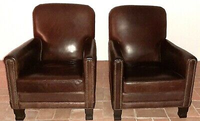 """Leather Chairs French Club """"Humpback"""" Vintage 1940's - A Pair"""