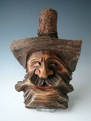 Vintage Hand Carved German Black Forest Wood Man Face Tree Spirit Bavarian