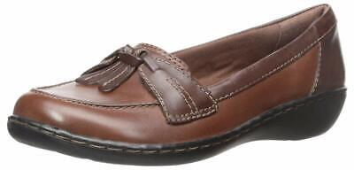 CLARKS TAN BROWN Leather Ashland Bubble Comfort Slip On