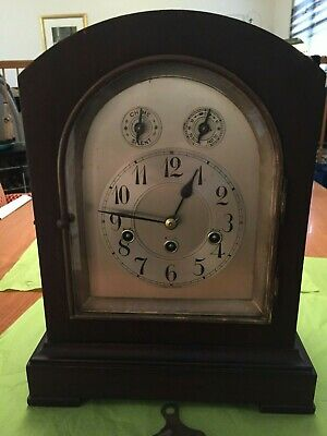 Antique Junghans German Mantel Clock, made in Germany, 1915, chimes, with key