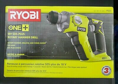 """Ryobi P222 ONE+ 18-Volt 1/2 in Cordless SDS-Plus Rotary Hammer Drill """"Tool Only"""""""