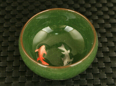rare jingdezhen porcelain Handcarved china double fish tea cup bowl decoration