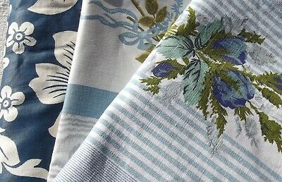 Bundle Vintage French Fabric Blue Floral Roses and Ribbons