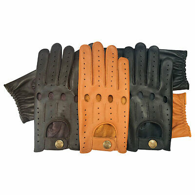 Men's Driving Fashion Real Soft Leather Retro Stylish Design Unlined Gloves 514