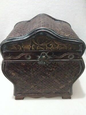 Chinese Asian Oriental Rattan Reed Bamboo Wood Wooden Wedding Basket Box NEW