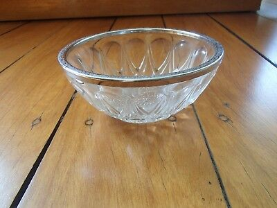Vintage Pressed Wexford Glass Sugar Bowl With Metal Ring