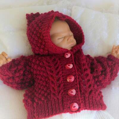 Knitted Baby Cardigan Girls Aran Hoodie Size 0-6 Months Red Hooded Cardigan