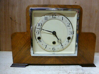 Walnut Westminster chime striking mantel clock