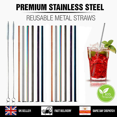 Reusable Metal Straws Stainless Steel Drinks Straws Party Bar Eco-Friendly Brush