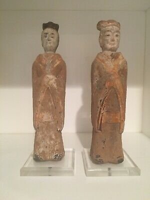 PAIR Antique CHINESE Clay Tomb Figure Burial Statue Figurine of ATTENDANTS