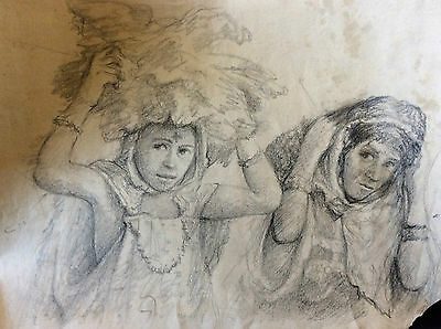Orientalist Portrait of Women Berbers Morocco Algeria Charcoal Early 20th