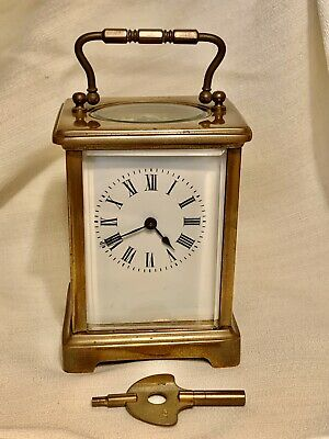 """Antique French Carriage Clock With Key, Works Beautifully! Brass & Glass 4.25"""""""