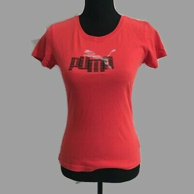Puma Orange Scarlet Women's Tee Short Sleeve Crew Small Gently Used Cotton