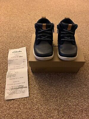 Infant Toddler Boys, Navy Clarks Boots, Size 4 G, Hardly Worn