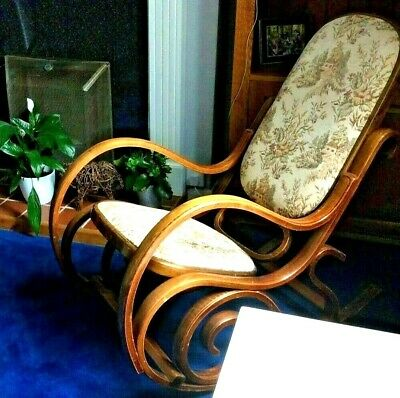 Mid Century Bentwood Beech Upholstered Rocking Chair 1960s Original Condition