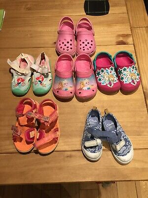 Girls Crocs And Clarks Shoes Size 6.5, 8 And 9 Frozen And Little Mermaid
