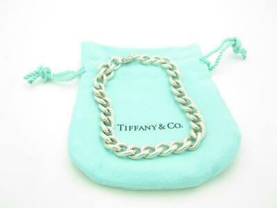 Tiffany & Co. Sterling Silver Vintage Textured Rolo Chain Link Bracelet