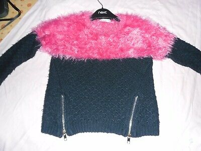 Girls Pink/Black Fluffy Jumper 4 Yrs