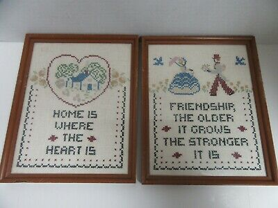 2 Finished Framed Hand Embroidered Home is Where & Friendship Completed 8x10