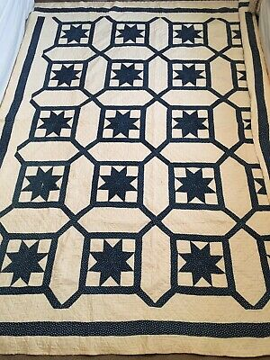 """Antique Eight Point Star Quilt Blue & White Hand PIeced & Quilted 84"""" x 68"""""""