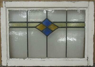 "MIDSIZE OLD ENGLISH LEADED STAINED GLASS WINDOW Pretty Diamond Band 24.25"" x 17"""