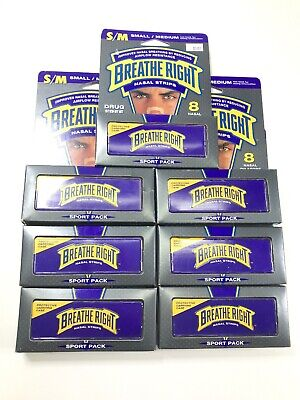 Breathe Right Nasal Strips Lot Of 7 Boxes Small/ Medium Sport Pack W/ Case 56 ct